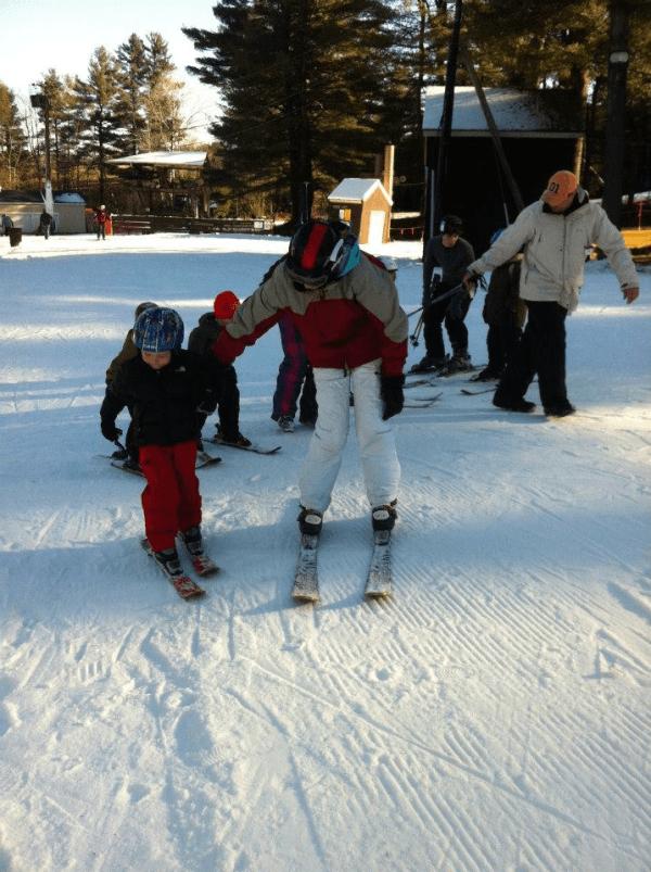 skiiers at otis ridge ski area